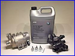 Genuine Engine Cooling Electric Water Pump+Bolt kit+Thermostat+Coolant For BMW